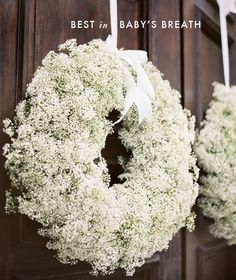 baby's breath wreath - how romantic! get lots of baby's breath Budget Wedding, Our Wedding, Wedding Planning, Wedding Blog, Wedding Church, Trendy Wedding, Wedding Reception, Wedding Venues, Reception Entrance