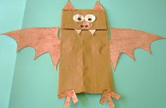 "Paper bag bats to go along with the story ""Stellaluna"""