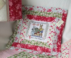 Patchwork Easter cushion for your baby girl