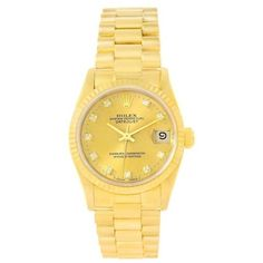 Pre-owned Rolex Datejust 68278 18K Yellow Gold 31mm Womens Watch ($10,790) ❤ liked on Polyvore featuring jewelry, watches, yellow gold watches, pre owned watches, 18k watches, rolex watches and dial watches
