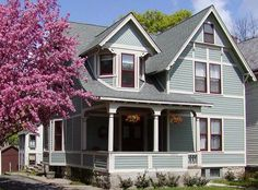 Exterior House Color Schemes Gray Similar To Celtic Blue With New Pilgrim Red And White
