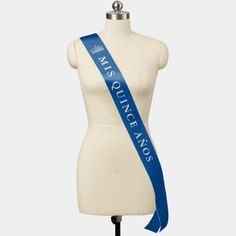 Shop Mis Quince Anos Blue Silver Crown Quinceanera Sash created by Raphaela_Wilson. Quinceanera Favors, Quinceanera Dresses, Pageant Dresses, 15 Dresses, Quince Invitations, Quince Decorations, Personalized Ribbon, Sweet Sixteen Parties, Candle Favors