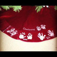 Christmas Tree skirt each year kids hamstrings..LOVE THIS IDEA