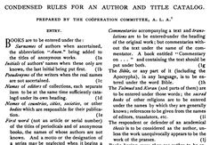 1883, Aug.: The ALA Cooperation Committee issues the first official ALA rules for cataloging at the Annual Conference in Buffalo, N.Y.