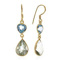 13.00 CTW Blue Topaz & Amethyst Earrings In 10K Yellow Gold Over Sterling Silver #Netaya #Dangle
