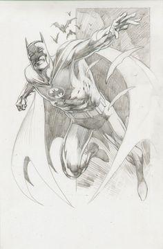 This a sketch of Batman, drawn by Alan Davis