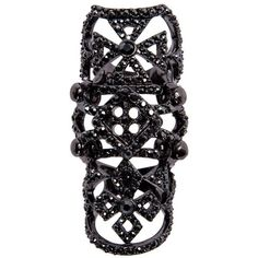 Luxury Fashion embellished full finger ring ($110) ❤ liked on Polyvore featuring jewelry, rings, accessories, black, luxury fashion jewelry, hematite ring and hematite jewelry