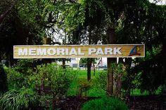 Memorial Park sign.