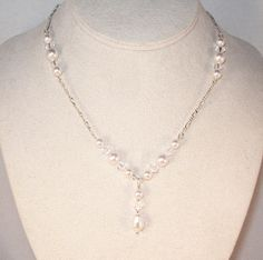 Swarovski Pearl Bridal Jewelry - Pearl Drop Necklace, Made To Order, Shown in White. SHIPS WITHIN 24 HRS. $40.00, via Etsy.