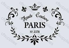 Pochoir A4 Shabby Chic, Français, mobilier, tissu, verre, Mylar réutilisable (59) cfsupplies http://www.amazon.fr/dp/B00MJ4E0ME/ref=cm_sw_r_pi_dp_Clr2wb0D8AHTX