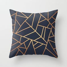 Copper And Midnight Navy Throw Pillow by Elisabeth Fredriksson - Cover x with pillow insert - Indoor Pillow Navy Pillows, Down Pillows, Throw Pillows, Navy Couch, Geometric Throws, Geometric Pillow, Geometric Cushions, Gold Cushions, Geometric Decor
