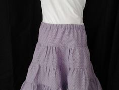 Size 8 - tiered skirt in mauve, purple and white pattern