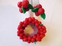 Vintage 50's Red Cherry Fruit Plastic Bead Stretch by sberryhill, $75.00
