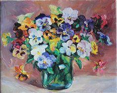 Still Life of Pansies Flowers Original Oil Painting on Canvas by Anastassia. $ 60.00, via Etsy.