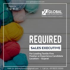 Require Sales executive For Textile industry  Location: Gujarat  Mail id: globaljobmorbi@gmail.com  Con: +91 93272 33330  #GlobalJobPlacement #Gujarat #Morbi #Training #Placement #Interview #Jobs #Assistance #RequirejobsinMNC #Texttilesjobs #SalesExecutive Textile Industry, We Are Hiring, Job S, Interview, Textiles, Training, Work Outs, Excercise, Fabrics