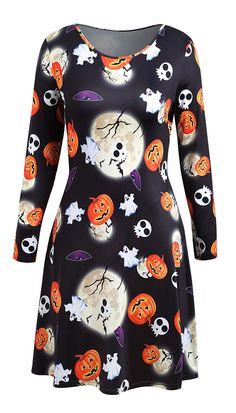 halloween dresses for women:Plus Size Long Sleeve Halloween Party Dress