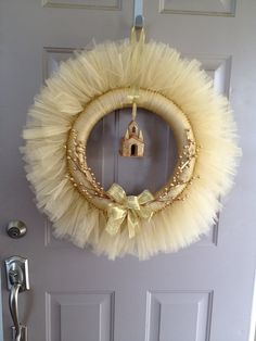 Gold Tulle Holiday Wreath by TheGirlsWorkshop on Etsy