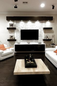 New Ideas Living Room Tv Wall Diy Entertainment Center Living Room Decor Cozy, Living Room Furniture Arrangement, Simple Living Room, New Living Room, Modern Living, Modern Family, Modern Wall, Modern Decor, Tv Wand Diy