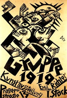 germanexpressionism:  Otto Dix, poster for the Dresden Secession Group 1919 Art Exhibition