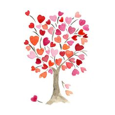 The Hearts Tree Art Print of original watercolor painting , Love ,anniversary, girls heart pink red, mothers day