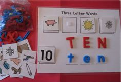 3 LETTER WORD CVC Word Board w Picture Cards All Sounds Phonics Lakeshore New