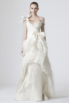 Vera Wang Wedding Dress photos as shown at Fashion Week. Designs property of Vera Wang and photos taken by www.GetMarried.com and can be seen online at www.getmarried.com/fashion/collections.php?designer=Vera_...     mg