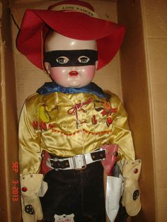 """Mollye Lone Ranger Doll with Tag - 31"""" Tall - Never Removed from Box 1950's!"""