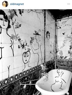 Bathroom decorated by Saul Steinberg for one of his friend's apartment Paris by ad_magazine Bathroom Goals, Bathroom Art, Interior Architecture, Interior And Exterior, Interior Design, Bathroom Inspiration, Interior Inspiration, Friends Apartment, Amazing Bathrooms