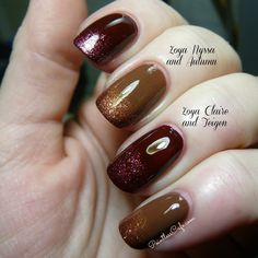 Autumn is a rusty, autumnal burnt orange/copper full of gold and copper shimmer/micro-flake particles.