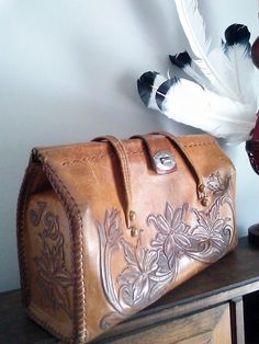Vintage 70's Weathered Leather Tooled by JulesCristenVintage