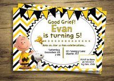 Charlie Brown y Snoopy cumpleaños invitación fiesta - cacahuetes película…