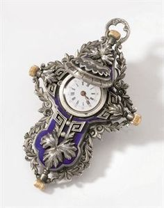 An unusual and rare silver and enamel crucifix pendant watch Circa 1870 UNSIGNED, CIRCA 1870
