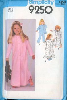 Simplicity 9250 | Vintage 70s - Nightgown,Pajamas,Robe Sewing Pattern