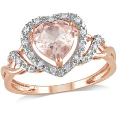 1-1/10 Carat T.G.W. Morganite and 1/10 Carat T.W. Diamond Heart Ring in 10kt Rose Gold