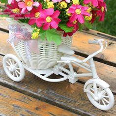 Plástico branco moto triciclo flor projeto cesta recipiente para flor planta início Weddding decoração DIY em Flores & coroas decorativas de Casa & jardim no AliExpress.com | Alibaba Group