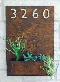 Metal Address Plaque & Succulent Wall Planter 20 x by UrbanMettle