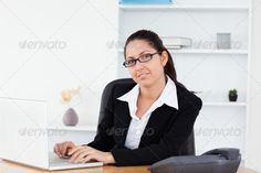Young businesswoman at workplace ...  25-29 years, Caucasian appearance, One Person, Young Women, adult, beautiful, beauty, business, businesswoman, caucasian, computer, confident, corporate, cute, desk, executive, face, friendly, glasses, good, happy, job, laptop, lifestyle, light, looking, model, modern, notebook, office, portrait, pretty, professional, secretary, shirt, sitting, smart, smile, table, technology, typing, woman, worker, working, workplace, young