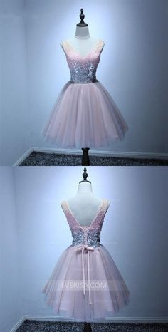 V Neck Sleeveless Sequin Homecoming Dresses,Short Tulle Cocktail Dress Dresses Short, Hoco Dresses, Prom Dresses Online, Cheap Prom Dresses, Dresses For Sale, Girls Dresses, Inexpensive Homecoming Dresses, Affordable Bridesmaid Dresses, Ball Gowns Prom
