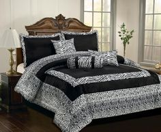 order Queen Comforter Sets online | ... Patchwork Faux Silk Black / White Comforter Set Bedding-in-a-bag