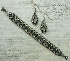 """BANDWIDTH BRACELET   15/0 seed beads Miyuki """"Metallic Gunmetal"""" (451)  11/0 seed beads Miyuki """"Metallic Gunmetal"""" (451)  8/0 seed beads M..."""
