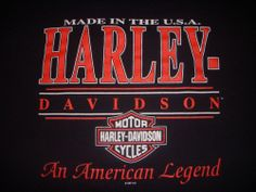 Harley Davidson Made in the USA An American Legend  Black T-shirt XL