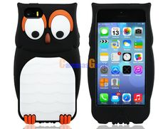 3D Owl Design Silicone Protective Case for iPhone 5S/5 (Black)
