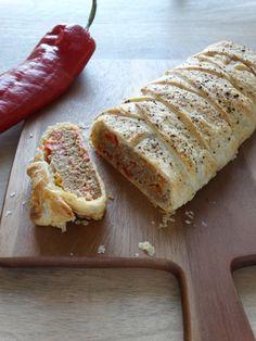 Gehaktbrood met paprika in een bladerdeegjasje - Junnekes recepten