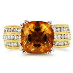 Annello by Kobelli 14k Yellow Gold Cushion Orange Citrine and 1 1/5ct TDW Diamond Multi-Row Channel |  Overstock.com  Shopping - The Best Deals on Gemstone Rings