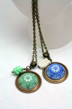 Whimsy Vintage Glass Pendant Necklaces Choice Blue Green Spanish Tile  | shadesongs - Jewelry on ArtFire