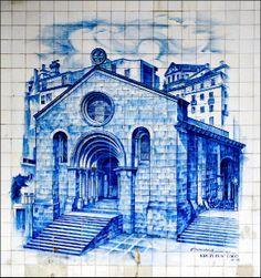Igreja de Sao Tiago Blue tile mural from the streets of Coimbra, Portugal Delft Tiles, Blue Tiles, Portugal, Ceramic Tile Art, Tile Panels, Tile Murals, Portuguese Tiles, Big Waves, Fishing Villages