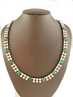 Vintage Silver Tone Glass Crystal Necklace Green Accents ~ Bridal ~ (17047-1) #Unbranded