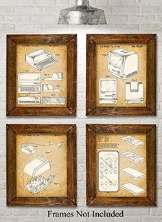 Original Steve Jobs Computer Patent Art Prints - Set of Four Photos (8x10) Unframed - Great Gift for Computer Geeks/Gurus and Tech Support