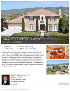 Exquisite Silver Creek Valley Country Club family home on elevated corner location with incredible city light and mountain range views, sport court and spacious slate patio with outdoor kitchen and fireplace.