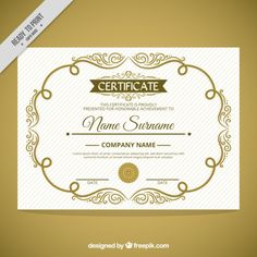 Cute ornamental frame certificate  Free Vector